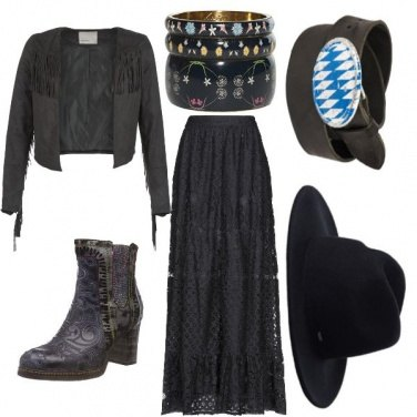 Outfit Total black cowgirl