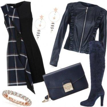 Outfit L\'abito con il pannello a quadri