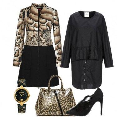Outfit Cappotto e borsa animalier