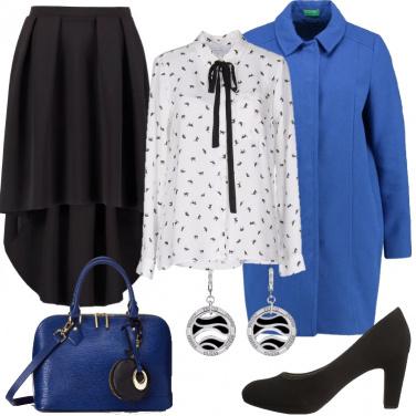 Outfit Bluette, bianco e nero.