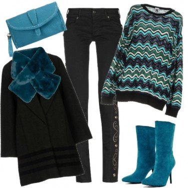 Outfit Nero e turchese