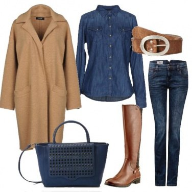 Outfit Jeans e cappotto in pura lana