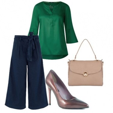 Outfit Blusa verde e jeans