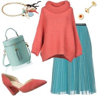 Outfit Turchese e corallo anche in inverno