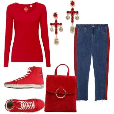 Outfit Natale casual ma sempre in rosso