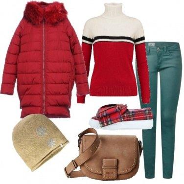 Outfit Piumino rosso slip on tartan