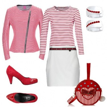 Outfit Righe bianche e rosse