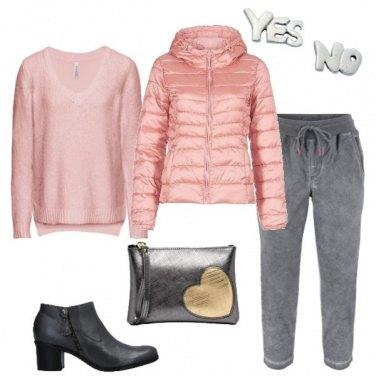 Outfit Rosa antico e grigio