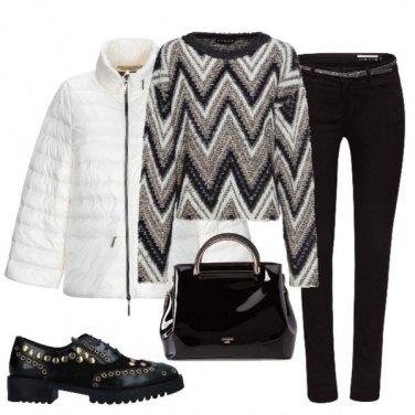 Outfit Nero e bianco con un tocco d'oro