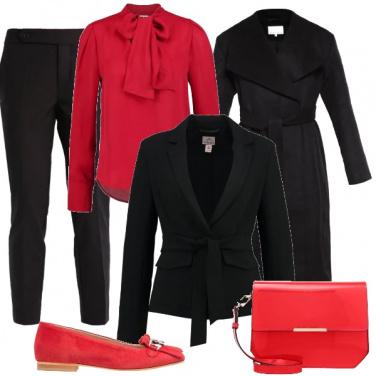 Outfit Rosso e nero per l\'ufficio