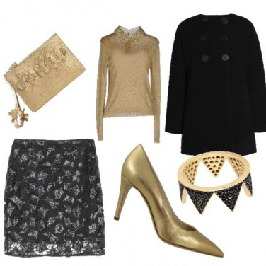 Outfit Natale gold black