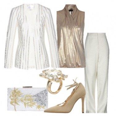 Outfit Raffinata in bianco e oro