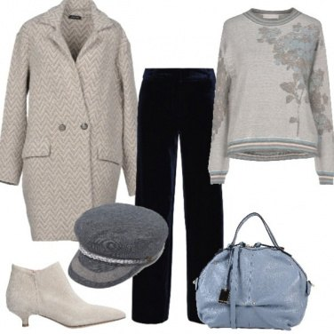 Outfit Pantaloni in velluto blu