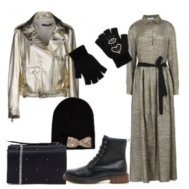 Outfit Trendy in oro e nero