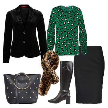 Outfit Giacca in velluto stivali in pelle