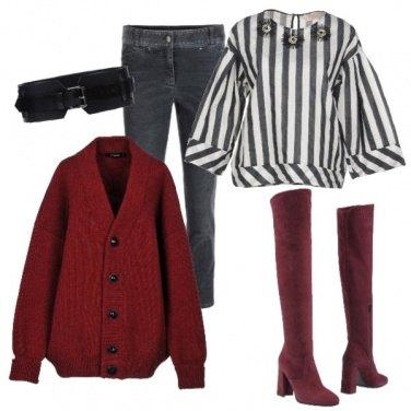 Outfit La cintura sopra il cardigan