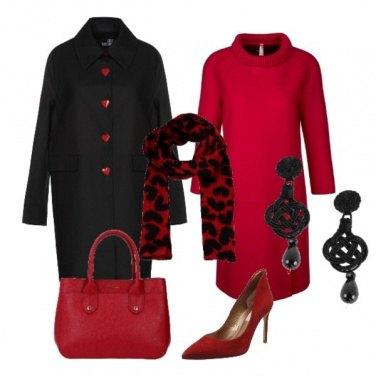 Outfit Un tocco di nero nel rosso