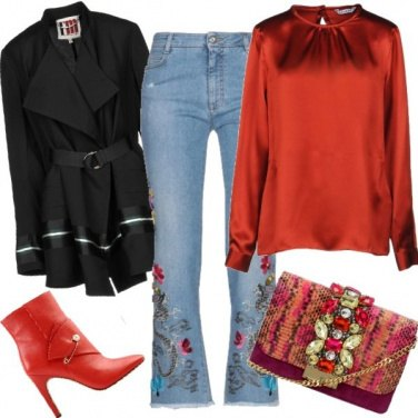 Outfit Natale con i jeans ricamati
