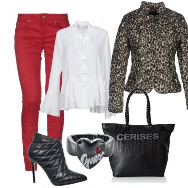 Outfit Rouches, rosso e animalier