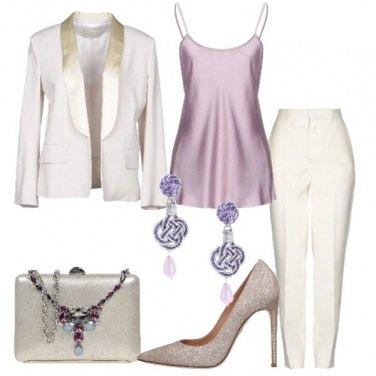 Outfit Chic in avorio e lilla