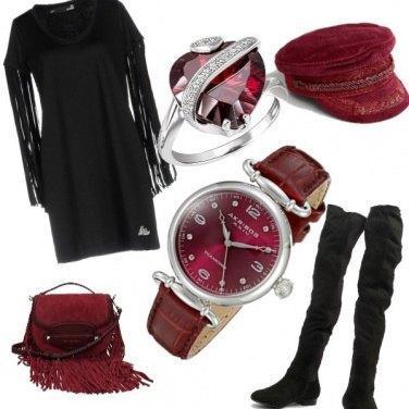 Outfit Frange e accessori bordeaux