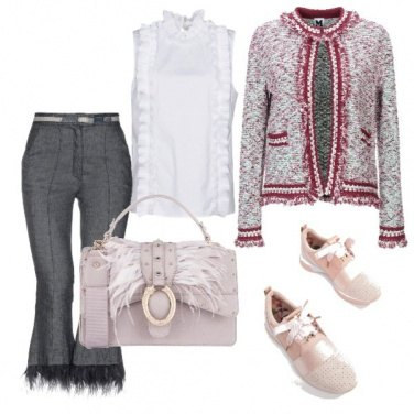 Outfit Piume rosa