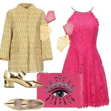 Outfit Fuxia e oro