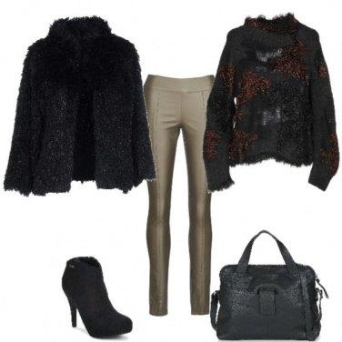 Outfit Pomeriggio invernale in kaki e nero