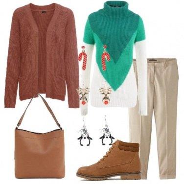 Outfit Pullover color block e scarponcino