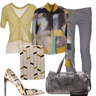 Outfit Geometrie in giallo e grigio