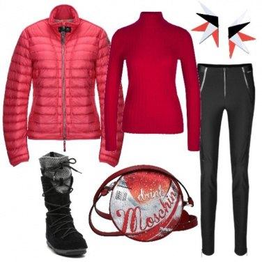 Outfit Capodanno in rosso sulla neve