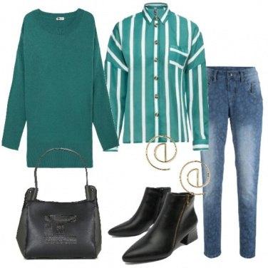 Outfit Righe e verde