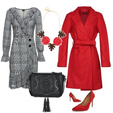 Outfit Cappotto rosso natalizio