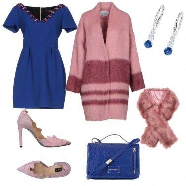 Outfit Bon Ton, blu elettrico e rosa pallido