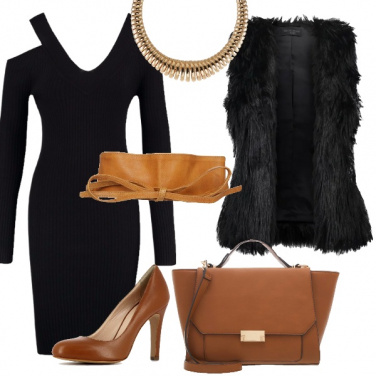 Outfit Nero e cognac