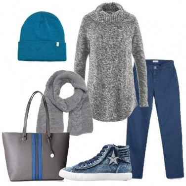 Outfit Blu e grigio mélange