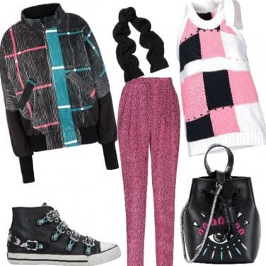 Outfit Righe e quadri a colori