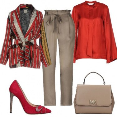 Outfit Look Rosso e beige