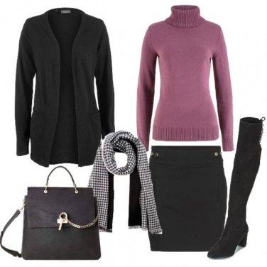 Outfit Nero e un tocco di rosa