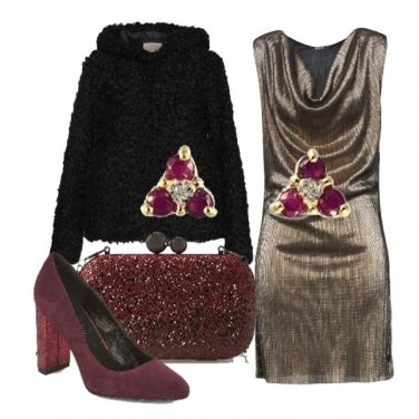 Outfit Burgundy e oro