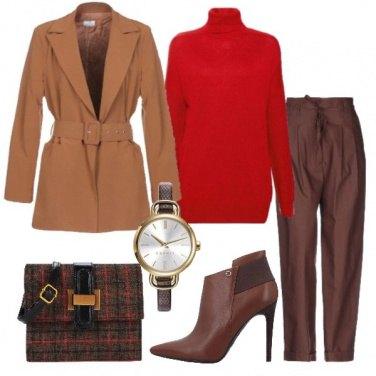 Outfit Marroni e rosso