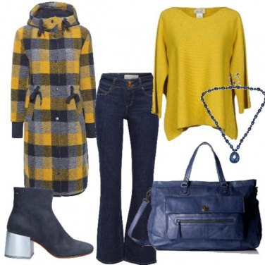 Outfit Quadri in giallo blu