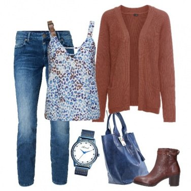 Outfit Top animalier multicolor