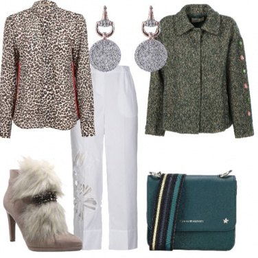 Outfit Bianco e animalier