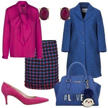 Outfit Blu e fucsia