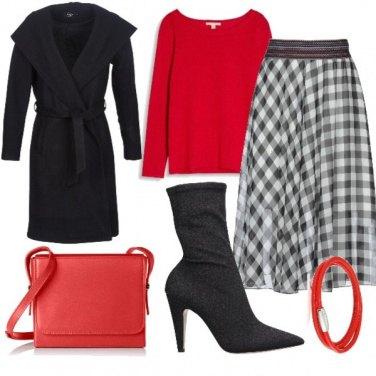 Outfit Rosso e Scozzese