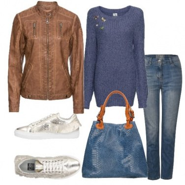Outfit Sneaker in pelle platino con volant
