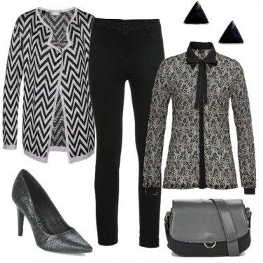 Outfit Righe e damasco