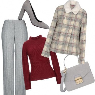 Outfit Grigio e bordeaux sempreverde