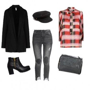 Outfit Rouge Noir Carré